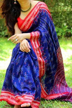 Sambalpuri Double Ikkat Cotton Handloom Saree by Dvija Sambalpuri Saree, Chanderi Silk Saree, Chiffon Saree, Saree Dress, Silk Sarees, Sari, Indian Sarees, Georgette Sarees, Royal Beauty
