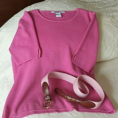 "Shell pink silk top with belt Short sleeve silk / cotton knit with shallow scoop neck, straight hem. Belt is lighter shade of pink with patterned leather tab and brass buckle; 32"" from buckle to last notch Acorn Tops Tees - Long Sleeve"