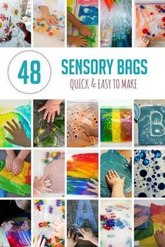 48 Quick Sensory Bags to Make for Your Kids Sensory bags the perfect way for babies, toddlers and preschoolers to explore safely. They can also be a tool for kids to learn colors, math, and words! Infant Activities, Preschool Activities, Motor Activities, Indoor Activities, Summer Activities, Family Activities, Baby Sensory Play, Baby Sensory Bags, Baby Play