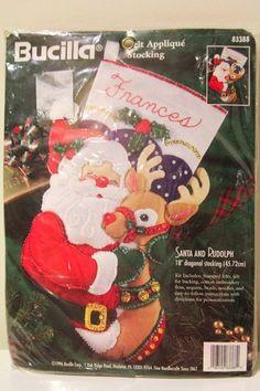 Bucilla Santa and Rudolph Felt Appliqué Christmas Stocking Sock Kit NEW 1996