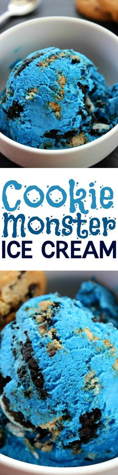 Cookie Monster Ice Cream Creamy (no churn!) vanilla ice cream loaded with 2 different kinds of cookies. A cookie lover's dream come true!Creamy (no churn!) vanilla ice cream loaded with 2 different kinds of cookies. A cookie lover's dream come true! Köstliche Desserts, Frozen Desserts, Frozen Treats, Dessert Recipes, Healthy Desserts, Cookie Monster Ice Cream, Ice Monster, Yummy Treats, Sweet Treats