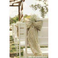 Noeud de chaise Jute et Dentelle - Lucy Jeanne Collection - Décoration de Mariage