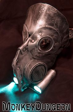 Leather art warrior LED light up Steampunk gas by MonkeyDungeon, $179.99