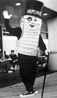 "In 1930, the Planters company opened a peanut shop on the Atlantic City boardwalk. One of the most popular attractions on the boardwalk then was ""Mr. Peanut."""