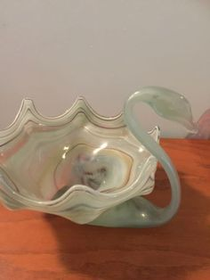 Vintage-Italian-Murano-Style-Hand-Blown-Art-Glass-Swan-Bowl-Dish-Large