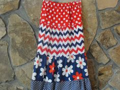 Patriotic Girl's Twirly Tiered Skirt in Red by JustSewStinkinCute, $32.00