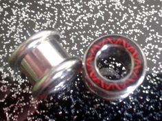 Tunnel Plug Dehnstab Schraubgewinde Piercing 10mm Ohrläppchen Dehnstab rot ohr