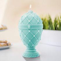 Świeca Jajo Faberge miętowa zieleń, dodatki - świeczniki i świece