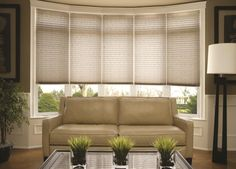 Pleated shades in various styles & sizes for large bay windows