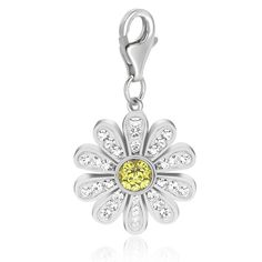 Sterling Silver Daisy White and Yellow Tone Crystal Embellished Charm