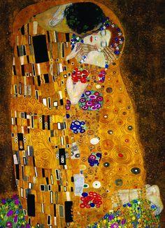 3/·        El cuadro mide casi 2 metros cuadrados, en su mayoría está hecho de pan de oro,  y pertenece a la Colección Nacional de Viena.  ·        La pintura, según diversos críticos de arte, representa la fusión entre el hombre y la mujer, lo cual se resume en un acto erótico. El color dorado da, al momento en el que la mujer y el hombre se unen, un ambiente sagrado.......sigue en el 4