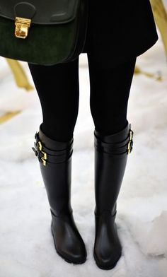Very feminine looking Wellington boots with gold buckle detail