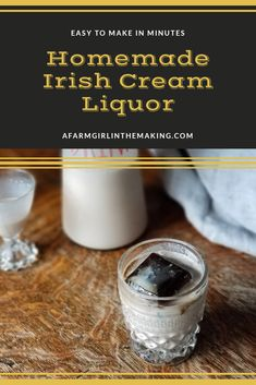 This easy to make homemade Irish cream liquor is full of flavor and delicious. A homemade Bailey's recipe which is better than the store bought version! Homemade Baileys, Homemade Irish Cream, Baileys Recipes, Drink Recipes, Dessert Recipes, Irish Cream Liquor, Baileys Irish Cream, Homemade Alcohol, Homemade Liquor
