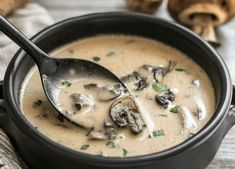 This rich and Creamy Garlic Mushroom Soup is perfect for fall with it's deep earthy flavors. Serve with crusty bread for dipping! Thicken with flour and water. Creamy Garlic Mushrooms, Creamy Mushroom Soup, Mushroom Soup Recipes, Veggie Recipes, Vegetarian Recipes, Mushroom Recipe, Soup And Salad, Soups And Stews, Cooker Recipes