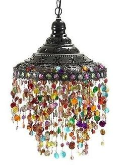 Beads Lamp Hanging pendant lamp Hanging pendant light with beads boho lamp Bohemian lamp Ceiling light Beaded light from Turkish Delight exotic decor. Gypsy Decor, Bohemian Decor, Bohemian Gypsy, Bohemian Lighting, Bohemian House, Boho Life, Bohemian Crafts, Bohemian Clothing, Home And Deco