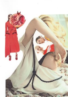 """Collage """"Pomegranate red"""", handmade, cut out from fashion magazines"""