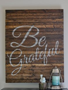 "Make a ""Be Grateful"" pallet style sign for fall and Thanksgiving for less than $10 using wood shims."