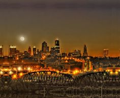 Moon Over Kansas City Mo Print by Don Wolf.  All prints are professionally printed, packaged, and shipped within 3 - 4 business days. Choose from multiple sizes and hundreds of frame and mat options.