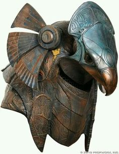 Egypt - Horus Guard Helmet Helmet worn by a Horus guard, used in the production of Stargate Horus guards protected Ra and his family - Stargate, Armadura Medieval, Sculpture Metal, Lion Sculpture, Larp, Zombi Pin Up, Character Inspiration, Character Design, Armor Clothing