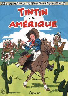 Al Severin - Tintin en Amerique by Al Severin - Original Cover Jean Giraud, Vintage Comic Books, Vintage Comics, Album Tintin, Serpieri, Ligne Claire, Book Of Kells, Morris, Wow Art
