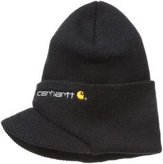 58b6841b8a2 Carhartt Mens Knit Hat With Visor Black One Size Knit Beanie  fashion   clothing