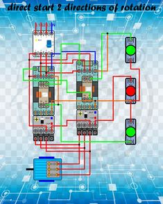 direct start 2 directions of rotation Electrical Circuit Diagram, Home Electrical Wiring, Electrical Plan, Electrical Projects, Electrical Engineering, Electrical Equipment, Engineering Projects, Arduino Projects, Distribution Board