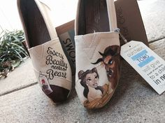 Custom Hand Painted Toms - Disney Toms - Beauty and the Beast Toms $125
