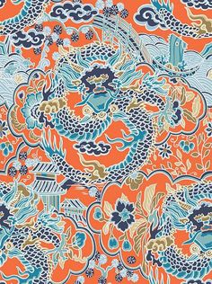 Imperial Dragon Turquoise and Coral wallpaper by Thibaut
