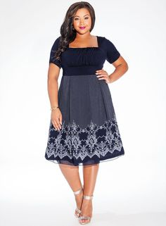 Hayleigh Plus Size Casual Dress in Midnight Blue