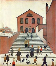 Old Church and Steps by L. Lowry - art print from King & McGaw Banksy, King, Watercolor, Art Prints, Artist, Art Ideas, Yard, Paintings, Street