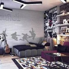 bedroom ideas teenage guys. modern retro teenage boy bedroom ideas with brick wall accent minimalist batman mural wallpaper