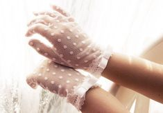 Very romantic lace gloves with dots. This goves are perfect for first holy communion in colors white or ivory.  Gloves For Summer and for wedding