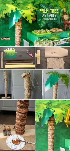 """Palm trees are known to live in warm, tropical climates and now they can """"grow"""" in your dining room too! This faux creation is the perfect way to add some height to your Jungle Birthday Party desse… Safari Party, Jungle Theme Parties, Jungle Theme Birthday, Jungle Book Party, 3rd Birthday, Lion King Party, Lion King Birthday, Palm Tree Decorations, Diy Party Decorations"""