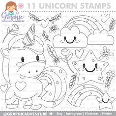 Unicorn Stamp COMMERCIAL USE Digi Digital Image Party Digistamp