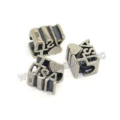 "Metal beads, 925 sterling silver European bead in antique silver plating, Rectangle with ""I love USA"" design, Approx 10.5x6.8x8.7mm, Hole: Approx 4.7mm, 10 pieces per bag, Sold by bags"