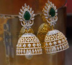 18 carat yellow gold classic jhumkas by Parnicaa, rose cut and brilliant cut diamonds, large round emeralds studded on it. Large south se...