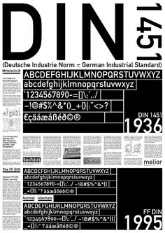 DIN Typeface. DIN stands for Deutsches Institut für Normung (German Institute for Standardization.) Linotype markets a digital version of the original font while Albert-Jan Pool created a very versatile family of DIN typefaces (FF DIN) for Fontshop. FF DIN is more geared towards commercial applications. Used for signage or any type of work in which you need an industrial, slightly severe look.