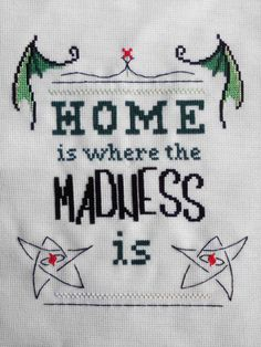 Home is Where the Madness Is - PDF Cthulhu Cross Stitch Pattern. $4.99, via Etsy.
