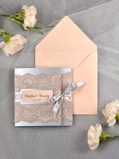 Vintage Wedding Invitation, Lace wedding Invitation, Silver and peach Wedding Invitation, Blush wedding Invitation on Etsy, $6.89 AUD