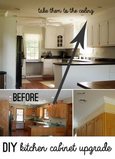 Upgrade Cabinet Makeover with DIY crown moulding and chalky finish @DecoArt_Inc @savedbyloves