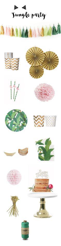Vaisselle de table et accessoires de décoration pour une Jungle Party à retrouver sur www.rosecaramelle.fr #presentoir #gold #doré #tropical #jungle #sweettable #anniversaire #jungleparty #green #urbanjungle #junglefever #deco #party #fete #vaisselle