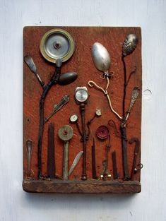Art assemblage Found Object Flowers on reclaimed by bearpawrustics, $250.00