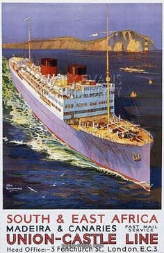Original Vintage Union Castle Line Cruise Ship Poster, South & East Africa Ec 3, Bus Travel, Train Travel, Travel Tips, Art Graphique, Ship Art, East Africa, Vintage Travel Posters, Africa Travel