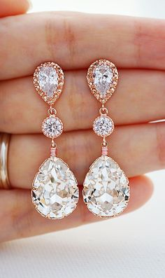 Swarovski Crystal Rose Gold Bridal Earrings from EarringsNation Wedding Earrings Rose Gold Weddings Blush weddings Bridal Jewelry