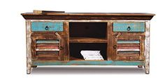 La Boca Shutter TV Stand Distressed and brightly painted reclaimed wood furniture.  #solidwood #woodfurniture #furniture #livingroom #tvstand #paintedfurniture #reclaimedwood #reclaimedwoodtvstand