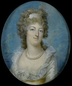 A beautiful portrait of Marie Antoinette, done in 1792 by Francois Dumont. She looks like she's wearing a Chemise a la Reine style gown, the more simple style muslin gown she popularized towards their end of her reign.