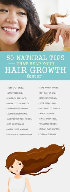Hair Remedies 50 Best Natural Tips For How To Make Hair Grow Faster. - Want to Grow Hair Fast? Here is a 50 Best Tips for how to make hair grow faster in a healthy way and you can try any of these for good results. Hair Remedies For Growth, Hair Growth Tips, Hair Care Tips, How To Grow Your Hair Faster, How To Make Hair, How To Long Hair, Tips For Long Hair, Natural Hair Care, Natural Hair Styles
