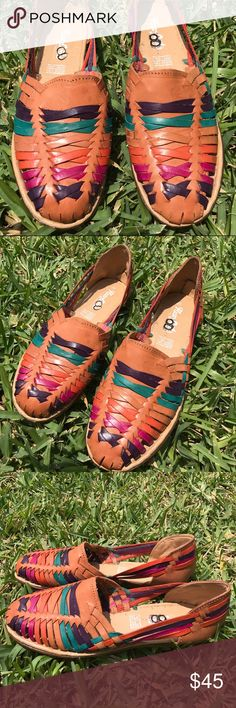 6a07d802c93c50 Mexican Handmade Leather Sandals Huaraches Flats New handmade leather  Sandals. Multicolor bow style. Very
