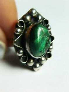 Sterling Silver Verde Stone Ring -  Vintage Mexico