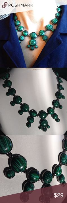 """new TALBOTS faux malachite necklace and earrings Brand new from Talbots, in gift box. Beautiful green faux malachite. The metal is dark, like a pewter gray. Adjustable statement necklace, and French hook earrings. Necklace adjusts from 17.5-21"""" long, and the earrings are 1.5"""" long. Lovely set! Talbots Jewelry Necklaces"""
